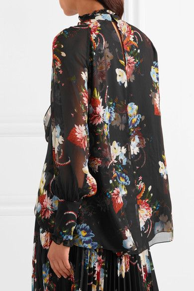 Erdem - Isabelle Pussy-bow Floral-print Silk-chiffon Blouse - Black