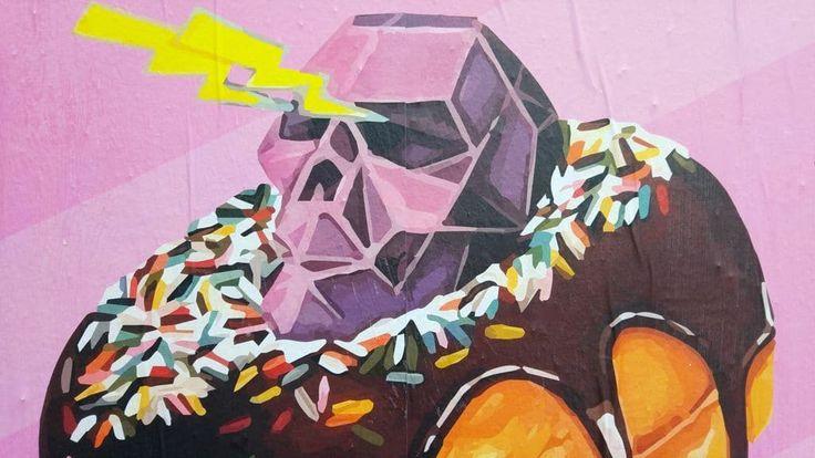 happycurio street art rauky painter lyon donut