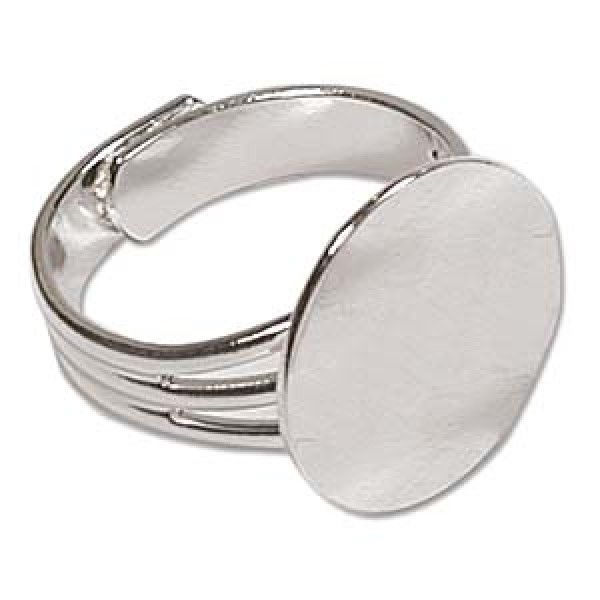Silver Plated Adjustable Ring w/16mm Flat Disc