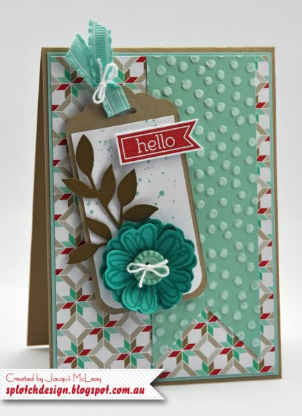 Stampin' Up! Flower Shop, 2014 SAB Decorative Dots embossing folder, Scalloped tag topper punch, Card