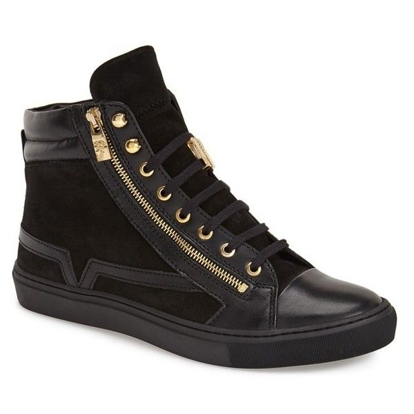 Versace Collection High Top Sneaker (10 020 ZAR) ❤ liked on Polyvore featuring shoes, sneakers, black leather, lace up sneakers, black shoes, leather shoes, versace shoes and zipper sneakers