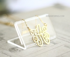 "1""  initial monogram 18K gold plated  Sterling silver"
