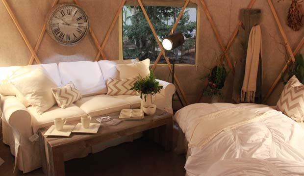 Glamping anyone? Here's a view inside the chic yurt at #CanadaBlooms