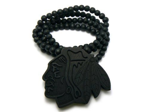 "Black Wooden Chief Leader Pendant with a 36 Inch Necklace Chain JOTW. $2.95. 100% Satisfaction Guaranteed!. The approximate measurements of this pendant in inches: 3.35"" from left to right x 3"" from top to bottom.. Great Quality Jewelry!"