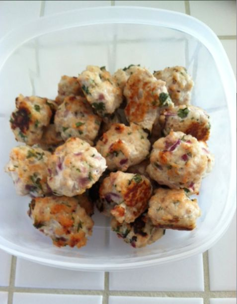 Lean Turkey Meatballs! Ground lean white meat turkey. Mix in cilantro, red peppers, sea salt, onions, garlic, egg plant. Form into 1 oz balls and bake at 425 for 30 minutes.