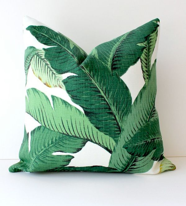 Banana leaf pillow seen on FashionSquad.com