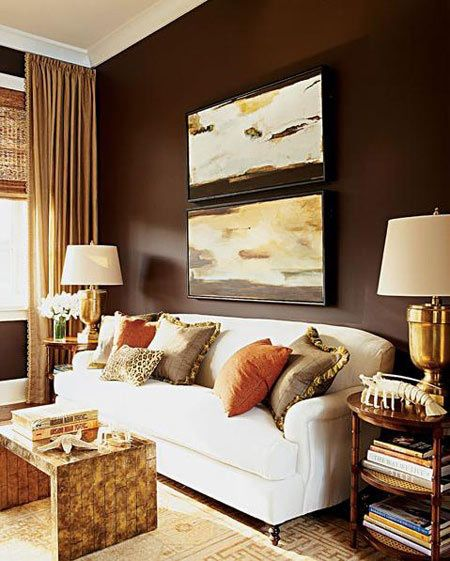 gold & brown living room | For My Home | Pinterest