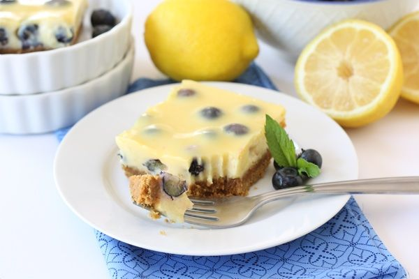 Lemon Blueberry Bars--There's fruit and grains and milk in here. For a dessert, these are actually not too bad for you.