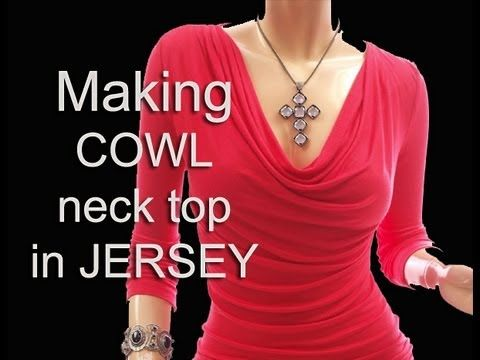 ▶ Cowl neck Top / Sewing jersey cowl top - YouTube