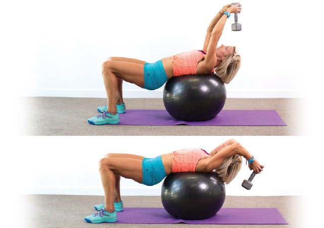 Dumbbell pullover using a Swiss ball. Browse more workouts at Women's health & Fitness
