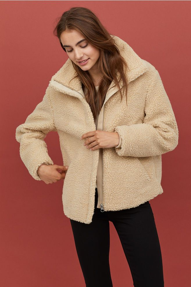 H & M Pile jacket with a collar Beige | Compare | Union