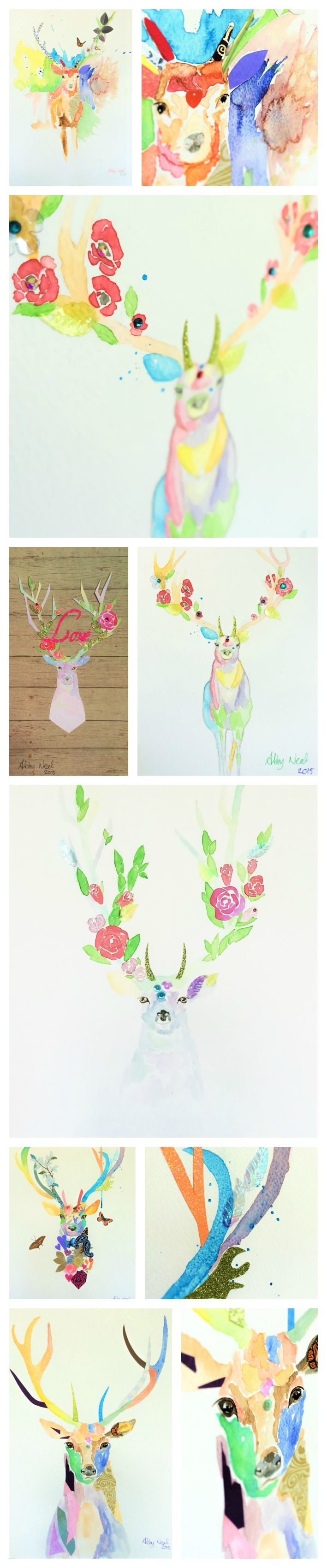 Prints and originals for sale. Take a look at my Facebook, Twitter & Instagram on /abbynealart. #Stag, #mixedmedia, #watercolour, #colourful.