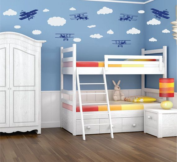 The Original Airplanes and Clouds Wall Decals for Kids Wall Art Stickers made in the USA