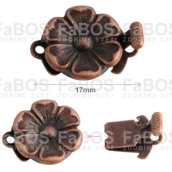 Bižuterní zapínání Bižuterní zapínání mechanické 17mm kytka - FaBOS