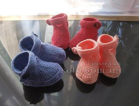 пинетки-ботиночки вязаные спицами
