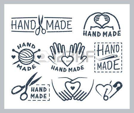 hecho a mano: Conjunto de insignias hechas a mano, etiquetas, iconos y elementos del logotipo Vectores