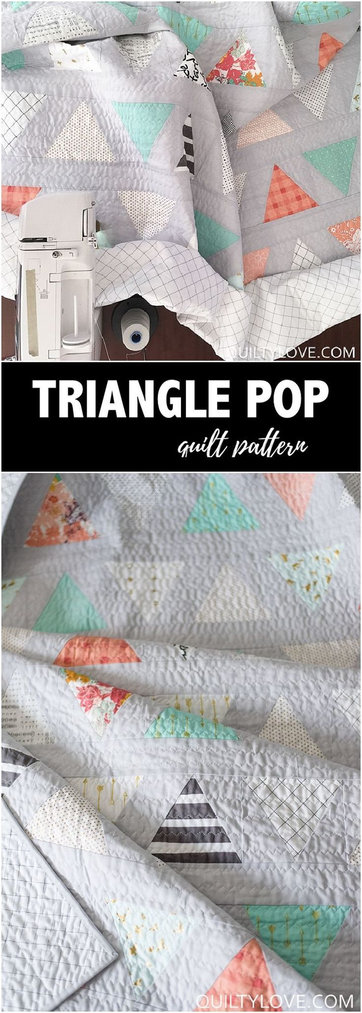 Quilty Love | Twin size Triangle Pop Quilt – The low volume quilt | http://www.quiltylove.com | Modern triangle quilt. Low volume quilt. #trianglequilt #quilt #modernquilt #quiltylove #trianglepop