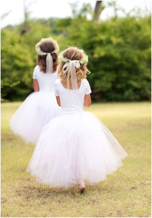 flower girl in tutus with petite head pieces