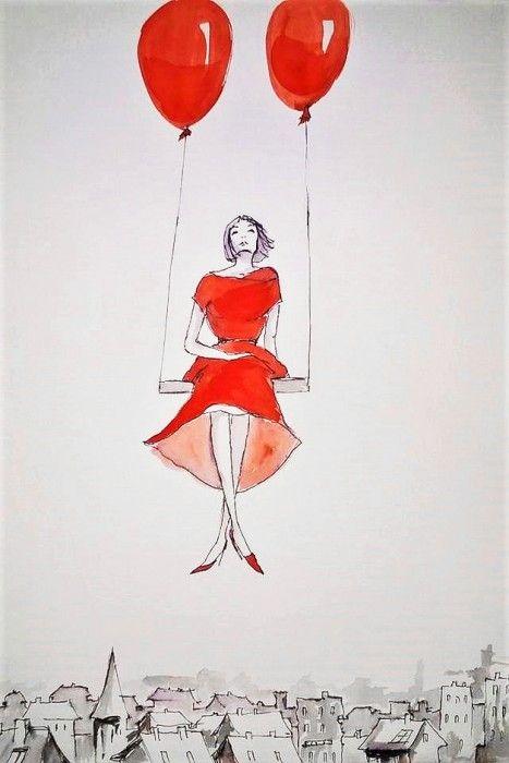 """""""ODREALNIENIE"""" praca akwarelą i piórkiem wykonana przez artystkę plastyka Adrianę Laube na papierze A3."""