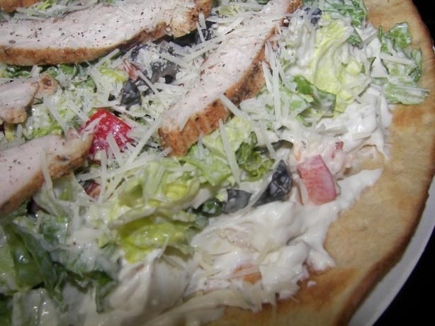 Chicken Caesar Salad Pizza, Pampered Chef   This is adapted from Pampered Chef and was served at my baby shower several years back.  It's a nice lunch or dinner on a hot evening.  If you want to serve this as an hor d'oeurve, cut the pieces into 2-inch squares... or skip the crust and make individual ones on pita chips!