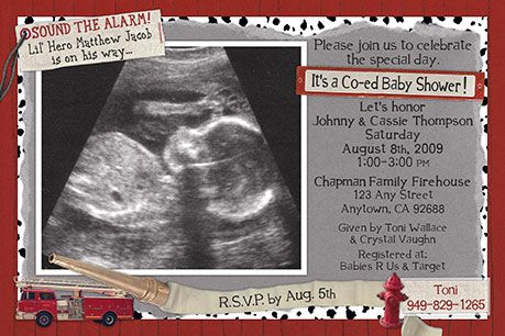 Firefighter Baby Shower Invitations - Lil' Hero – Sound the Alarm! A lil' hero is on his way. Invite the whole crew with fireman baby shower invitations. We use your ultrasound, sonogram or maternity photo and digitally combine it with elements like a fire hydrant, fire hose, fire truck and dalmatian patterns to create a unique scrapbooked look. #baby-shower-invitations