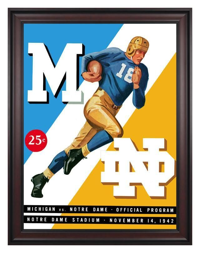 1942 Notre Dame Fighting Irish vs Michigan Wolverines 30 x 40 Framed Canvas Historic Football Poster