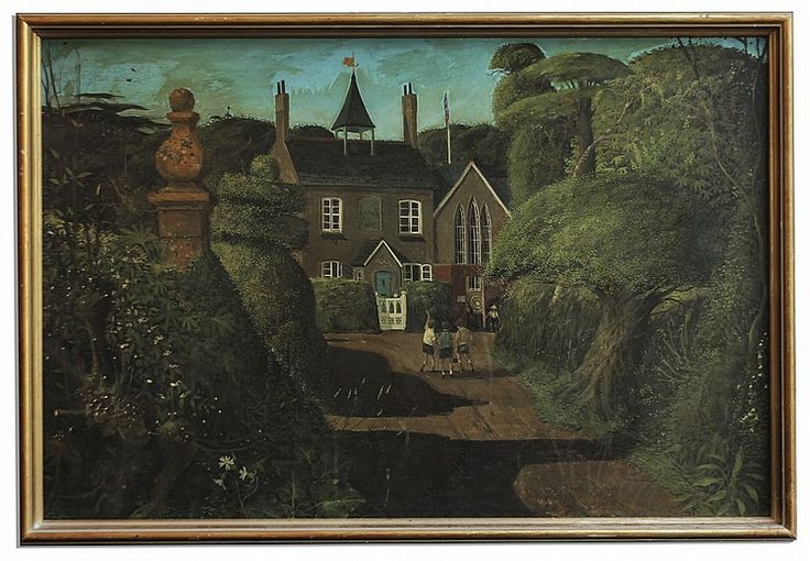 The School (1969) by John Shelley. Composed in casein, painting depicts three schoolboys in front of a moss green schoolhouse, all surrounded by lush, detailed foliage. Framed to an overall size of 38 x 26.5 in. Owned by Ray Bradbury.