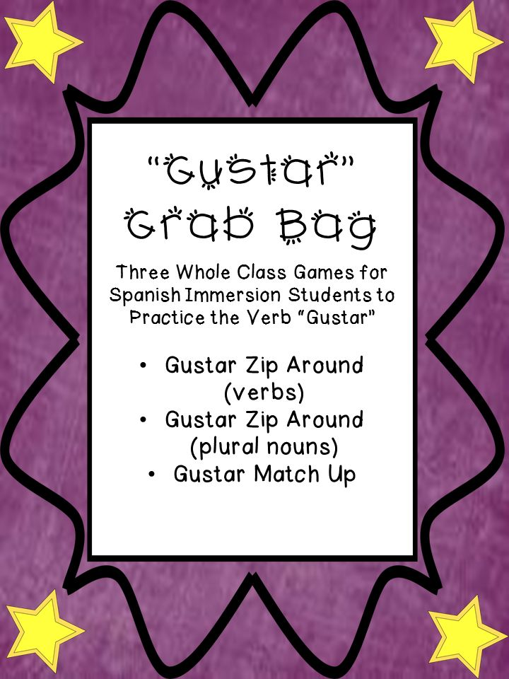 "Three morning meeting games to practice different forms of the verb ""gustar."""