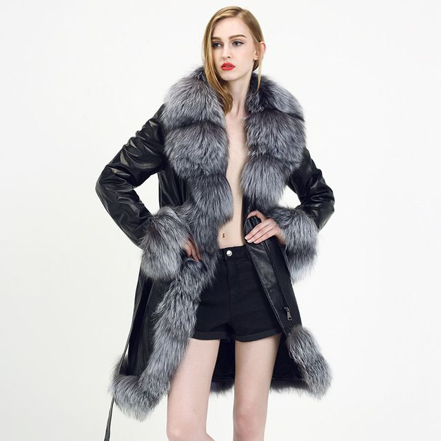 Real Fox Fur Coat Silver 2015 New Style Fashion Genuine Leather Fur Coat Sheepskin Coat Women Autumn Winter Real Fox Fur Coat US $317.03-338.1 To Buy Or See Another Product Click On This Link  http://goo.gl/Ln6ntd
