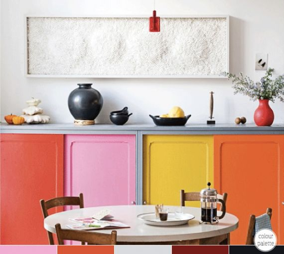 clashing in a good way: Colour, Dining Rooms, Idea, Real Living, Interiors Design, Colors Kitchens, Kitchens Cabinets, Colors Blocks, Cabinets Doors