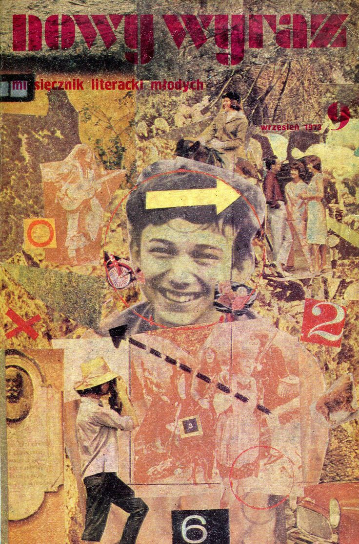 """""""Nowy wyraz. Miesięcznik literacki IX"""" Edited by Jan Zdzisław Brudnicki Cover by Adam Myjak Published by Wydawnictwo Iskry 1973"""