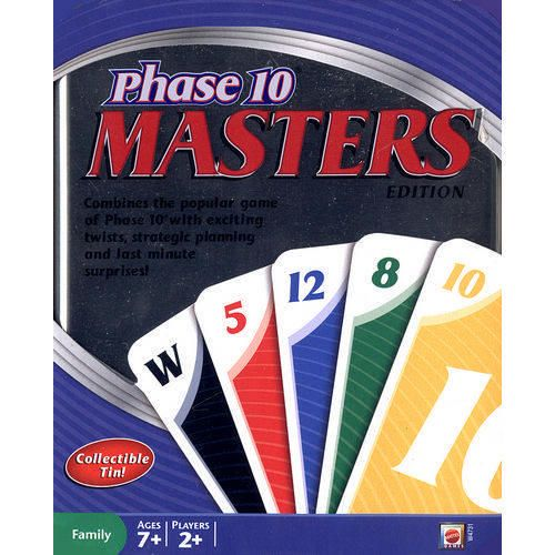 Phase 10 Masters Card Game in Tin - Get through all ten phases before your competition and with the fewest points to win this rummy-like card game. A great game of skill and strategy for a fun and competitive game night! $10.99