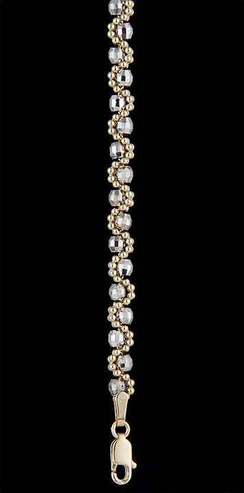 $629.00 Faceted Beaded Brilliana Bracelet 7 Inches Plus 1 Inch Extension in 14K Two Tone Gold