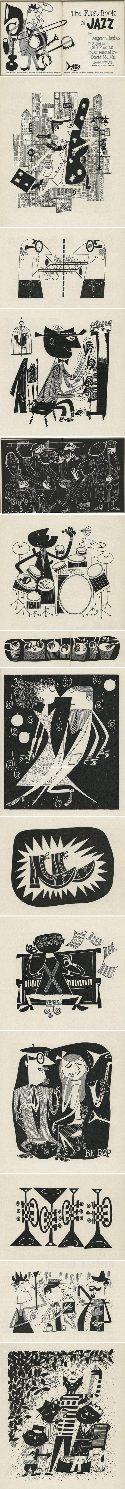 """Book: Ilustraciones por Cliff Roberts de """"El primer libro de Jazz"""" de Langston Hughes, 1955"""
