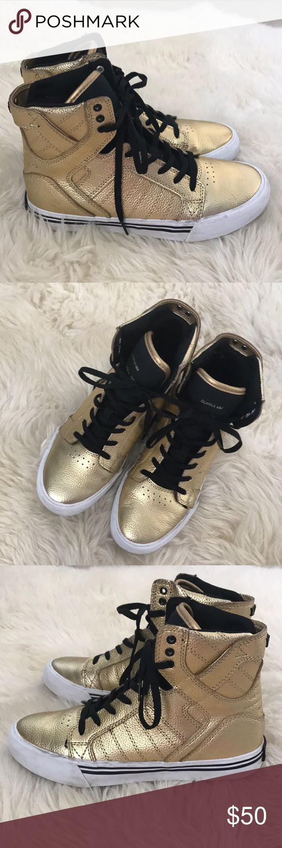 Gold Supra Muska 001 These are so amazing! I bought them off another posher,but they didnt fit☹️Super cute gold high top Supra shoes! Condition-used,please see all pics! Supra Shoes Sneakers