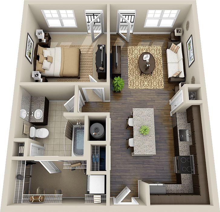 Best 25 1 bedroom house plans ideas on pinterest guest for Small 1 room flat