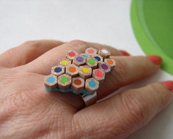 Ring Extraordinary Pencil Slice Polymer Clay Ring par AngelaDesign
