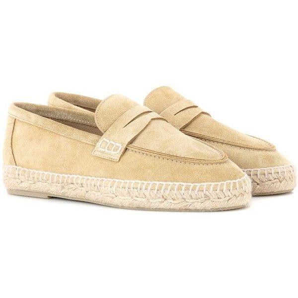 Loewe Suede Espadrilles ($525) ❤ liked on Polyvore featuring shoes, sandals, beige, espadrilles, suede espadrilles, loewe, suede sandals, espadrille shoes and beige sandals