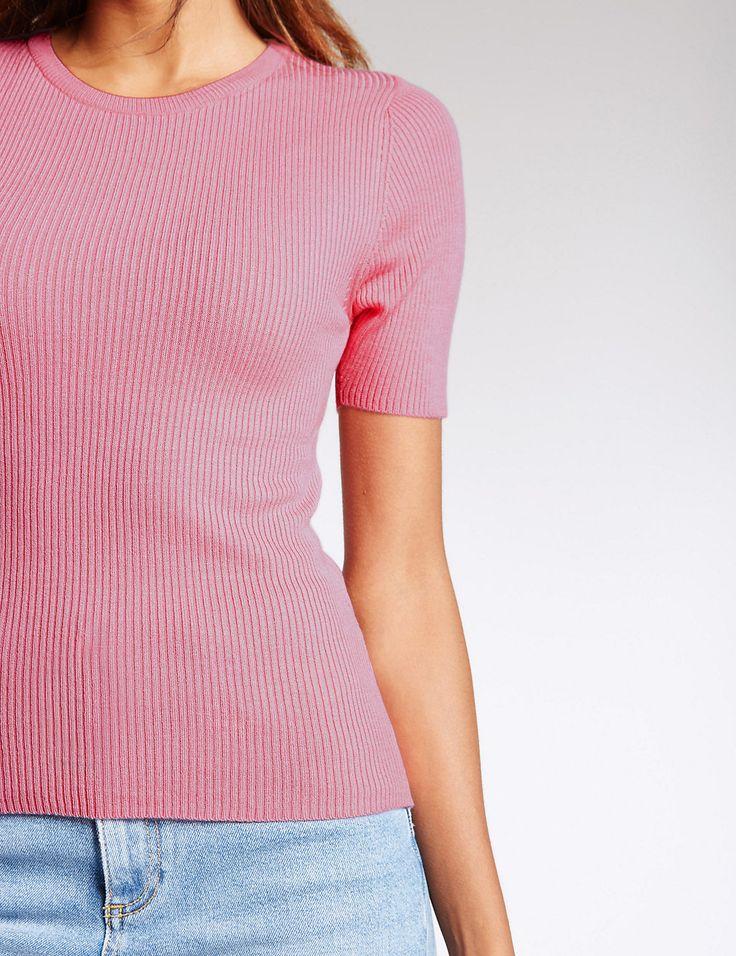 Ribbed Short Sleeve Jumper | Marks & Spencer London