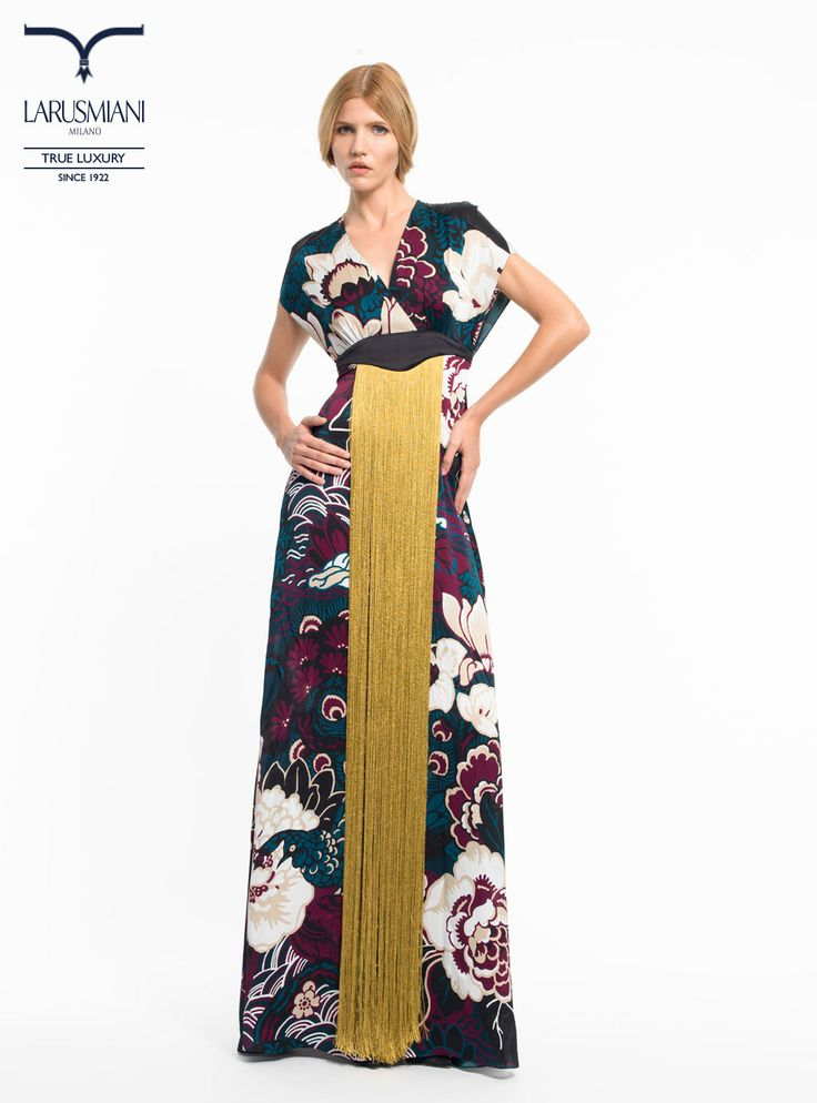 Handmade silk flower-printed long dress with fringes - www.larusmiani.it #SS2014 #women #fashion #style #larusmiani