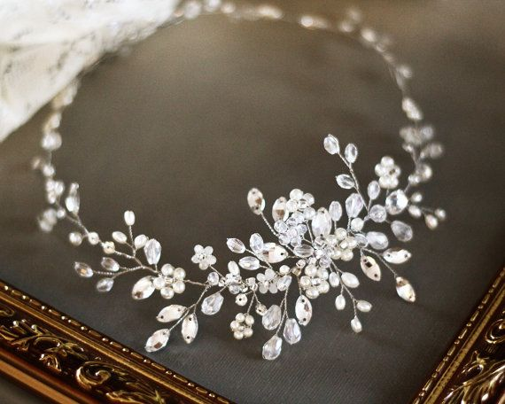 Bridal Headpiece Crystal Bridal Hair Piece Cristal by SvetloDesign