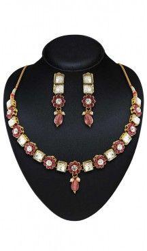 Pink Color Metal Artificial Jewellery Necklaces Set   FH500676601 Follow us @heenastyle  #Necklace #onlineshopping #necklaceset #forsale #gold #artificial #goldplated #designs #fashion #jewelry #fashionjewellry #accessories #womenfashion #pendentset #earing #jumkis #bangle #bracelets #mangalsutra #tikka #headpieces #handbags #cluethesbeg #ring #indianfashion #fashionista #anklets #bridelset #weddingset #dimondset #brass #metal #heenastylenecless #heenastyle