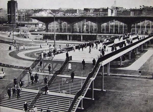 railway station, Katowice, Poland, 70s