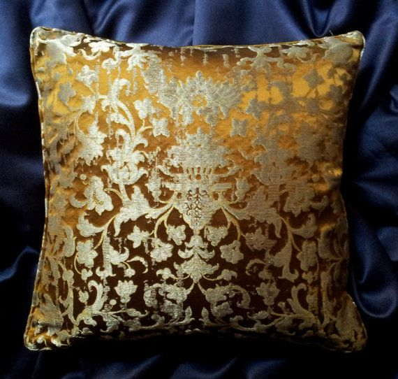 Silk Jacquard Rubelli Fabric Throw Pillow by OggettiVeneziani