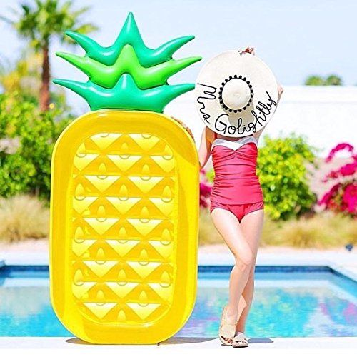 Inflatable Pineapple Tropical Summer Pool Floats For Adults Kids Outdoor Swimming Pool Large Floatie Lounge Party Toys Fruit Floaty Lounger F  Giant pool toys : giant pineapple swimming pool float and inflatable ride on rafts.  Really big pool floaties : durable and strong , beach or pool tube floats and lounges toys for kids and adults.  High quality, you can purchase it at ease.  It can be used for a long time.  Pineapple shape looks very cute, both children and adults like it.  The ...