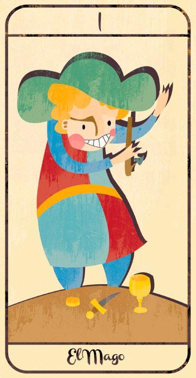 El Mago: naipe de un Tarot infantil para niños pendiente de editar; La maqueta del mismo (un libro tutorial ilustrado cuya contraportada en forma de caja guarda en su interior las cartas) se puede visitar en el Museo del Tarot de Bélgica del coleccionista de Tarot Guido Gillabel. Autora Elena Catalán