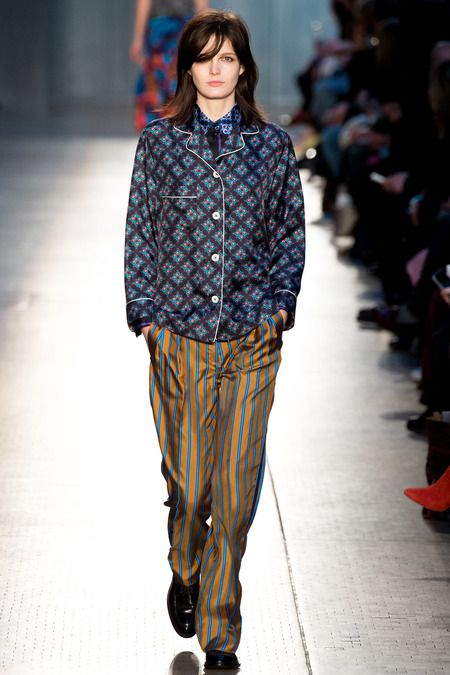 """Paul Smith Fall 2014 RTW - For his fall collection, Paul Smith said """"People would dress in pajama jackets and dressing gowns,"""" This is one of the pajamas!"""