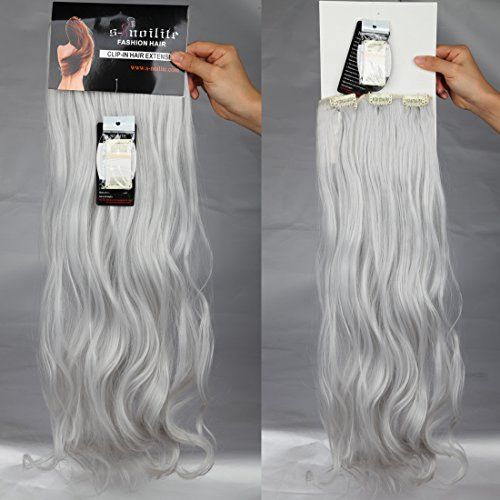 24 Inches Silver Grey Long Curly Wavy Clip In On 8 Pieces