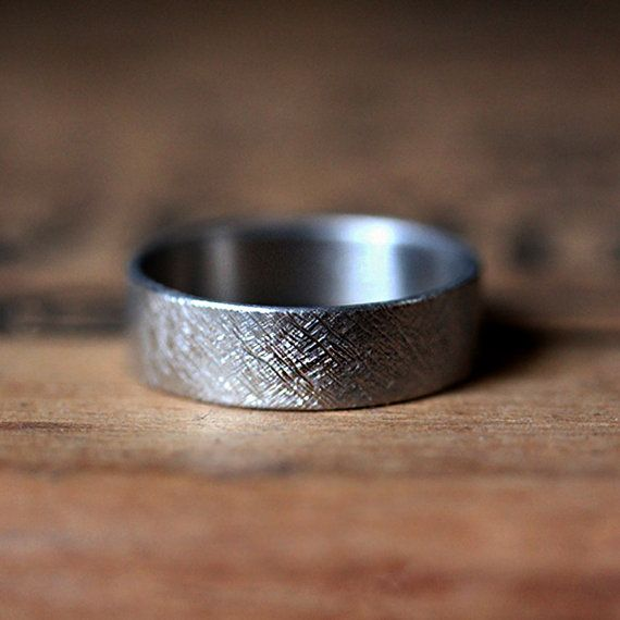 Palladium wedding band with rustic texture, handmade in NYC by Stephanie Maslow-Blackman.