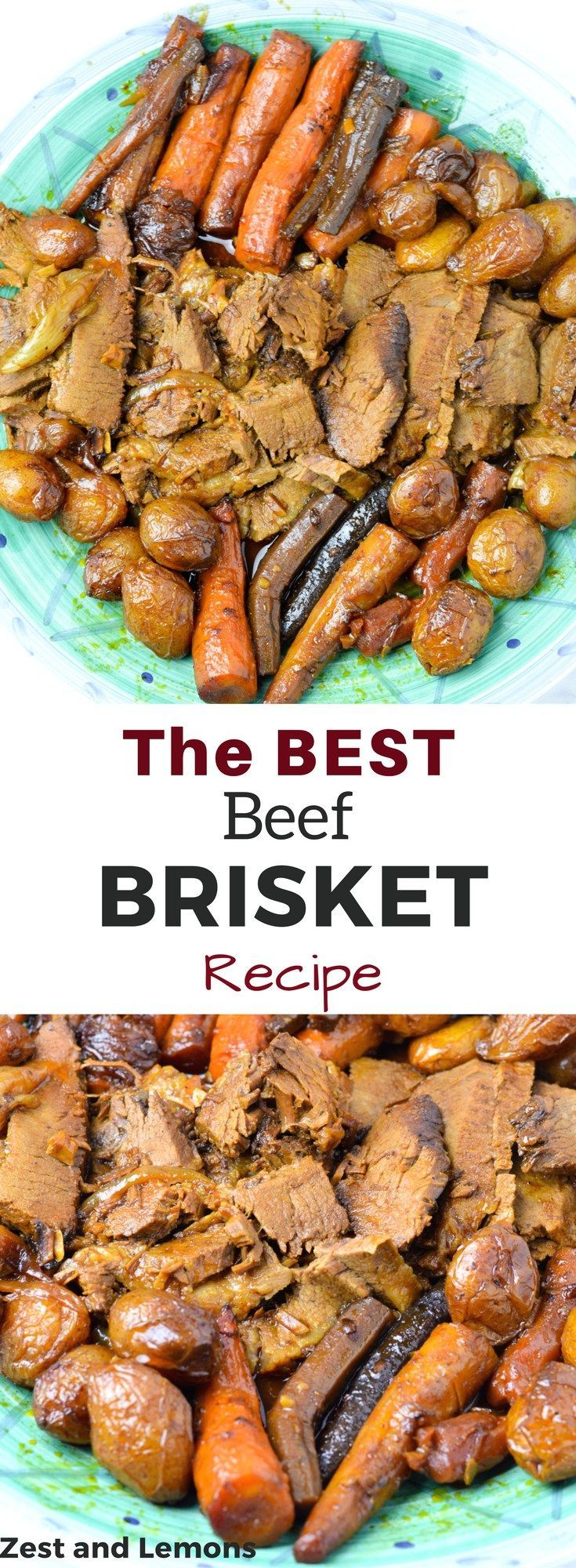 The BEST beef brisket recipe! (gluten free | cooking | recipes | holiday meals | family meals)- Zest and Lemons #glutenfree #holidayrecipes #familyrecipes